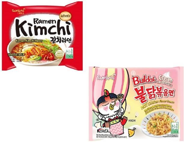 Samyang Hot Chiken Flavour Cream Carbo & Kimchi Instant Noodles (Pack Of 2) Instant Noodles Non-vegetarian