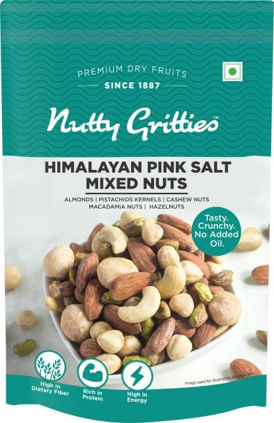 Nutty Gritties Salted Mixed Nuts - Roasted in Himalayan Pink Salt (Almonds, Cashews, Macadamias, Hazelnuts, Pista Kernels - Almonds, Cashews, Macadamia Nuts, Hazelnuts, Pistachios