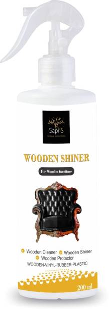 SAPI'S Superior Liquid Wooden Wax Polish 200ml (Removes Stains and Restores Shine) Wooden Shiner for Wooden Furniture, WOOD SHINER, FURNITURE POLISH & WOOD MAINTAINER SPRAY for Clean, Shiny and Smooth Surface Can be used on Plastics, Rattan, Wicker, Wood, Vinyl and PVC