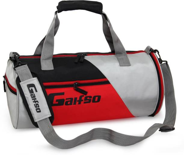 Gaifso Polyester Separate Shoes Compartment (Black and Red) Gym Bag