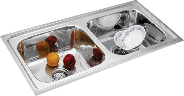 """Torofy (37""""x18""""x8"""") oval double bowl' stainless steel Chrome Finish Kitchen Sink With Waste Coupling , Vessel Sink (Silver) Vessel Sink"""