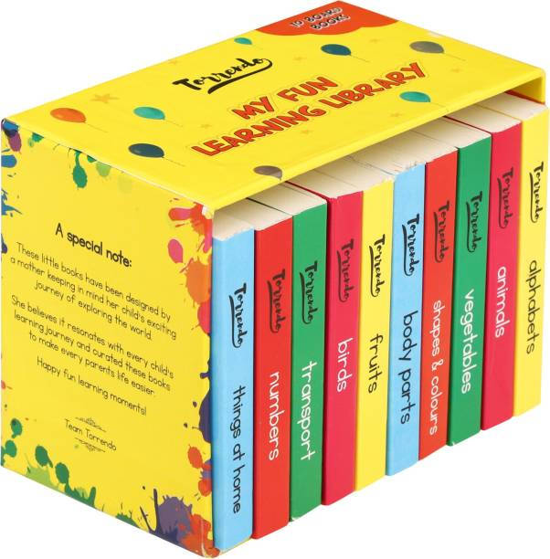 My First Learning Library (10 Board Books) - Gift Box Set for Kids - Wall Mountable & Easily Retractable