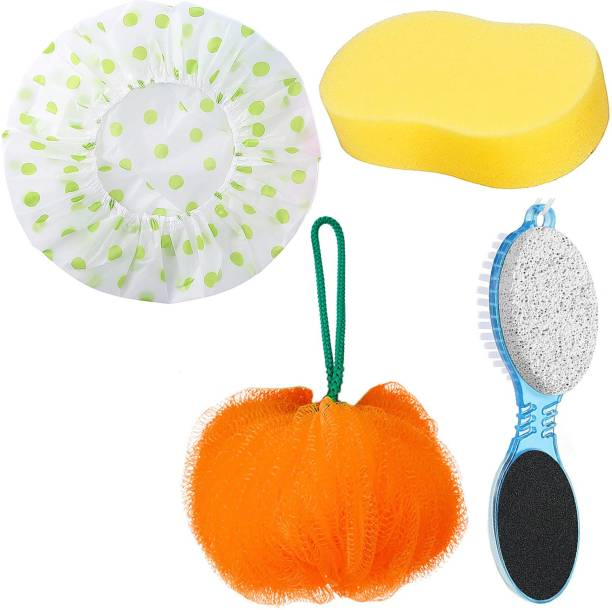 MGP Fashion High Quality 4 in 1 Foot Callus Remover, Multi-functional Pedicure Scrubber Exfoliator Tool with Pumice Stone, Hand Toe Nail Cleaning Brush, Foot Rasp for Home Foot Care / Sponge Body Scrubber Bathing Body Wash Puff Loofah for Men Women Baby Kids Loofah Sponge Pouf Body Scrubber Soft Round Bath Sponge Loofah Scrub /Loofah Bath Sponge Shower Scrubber for Women and Men, Body Exfoliator Bath Scrub with Beauty Bathing Accessories / 100% Waterproof Reusable Bathroom Shower Caps for Men Women Boys and Girls - Multi Color & Design