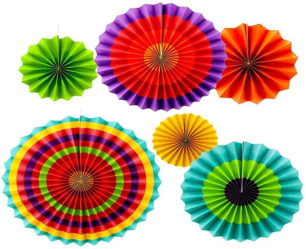 Shopperskart Multicolor Paper Fans for first birthday/anniversary/wedding/party/photobooth indoor/outdoor Wall Decorations