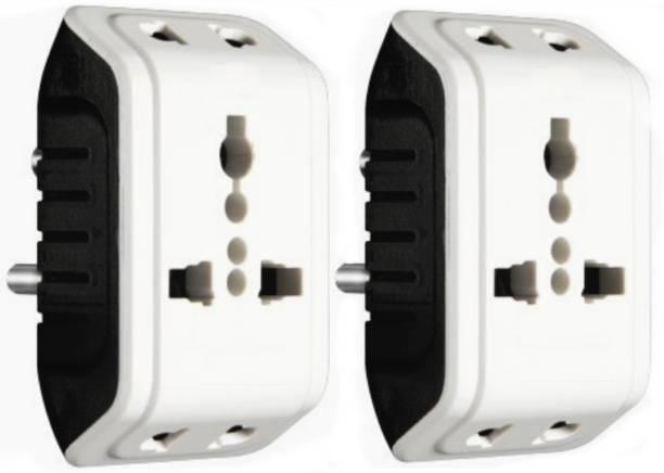 KAVANA Multiple Plug Socket,3 Pin Multi Plug Pack of 2,Universal Travel Adaptor 3 in 1 Plug 6A Socket Connector,MULTIPLUG 6 A Three Pin Socket
