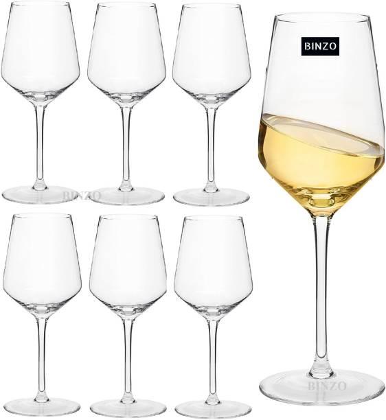 BINZO (Pack of 6) Glass White Wine Glasses 240 ml, Set of 6, Premium WIne Glass Glass Set
