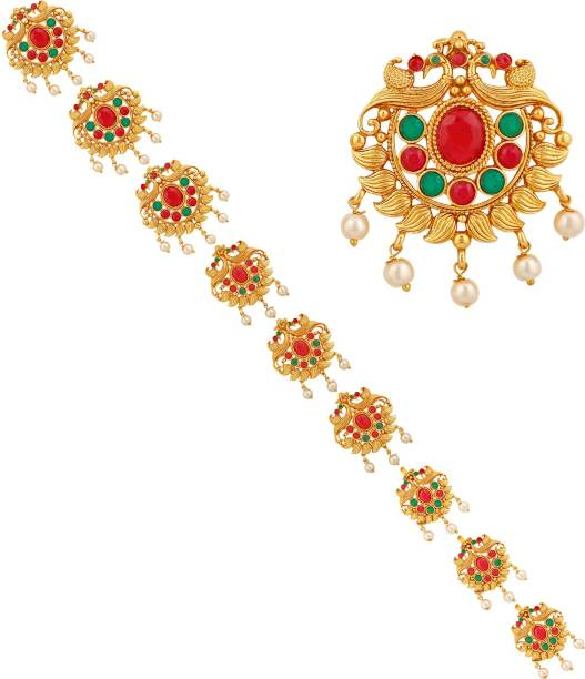 APARA Traditional Gold Plated Bridal Wedding Collection Jada Hair choti Accessory for women Hair Accessory Set