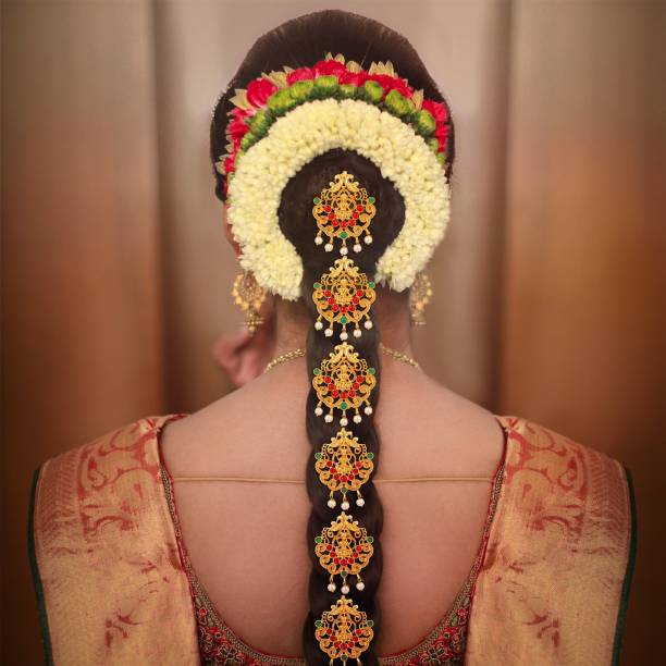 APARA Gold Plated Temple 9 Piece Hair Choti Jaddai Bridal Wedding Collection Jewellery for Women Hair Accessory Set