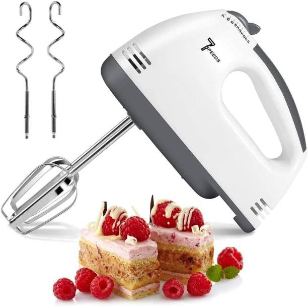 Shopative 7 Speeds Electric Multipurpose Beater High Speed 180-Watt Hand Blender Cake/Cream Easy Mixer Egg Beater Electric Whisk Cream Maker for Cakes with Base 7 Speed Control and 2 Stainless Steel Beaters, 2 Dough Hooks 180 W Hand Blender
