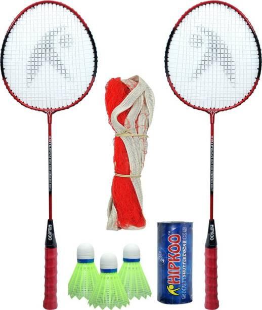 Hipkoo Sports Complete Higher Badminton Combo Set (HR 16) With Badminton Bag (2 Rackets, Net, Shuttlecock Pack Of 3) Badminton Kit