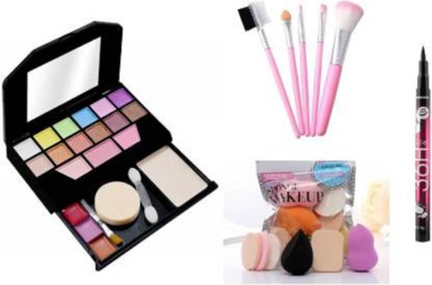 Uchiha Tya 5024 Fashion Makeup Kit mini + 5pc makeup Brush set + 6in1 Makeup Sponge Puff set & Yanquina Eyeliner