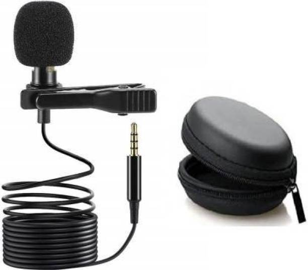 Miraaz NEW Clip_Microphone For   Collar Mike for Voice Recording   Lapel Mic Mobile, PC, Laptop, Android Smartphones, Microphone (Black) With Hard Carrying Case(CM22,Black)#Quality Assurance Microphone Microphone