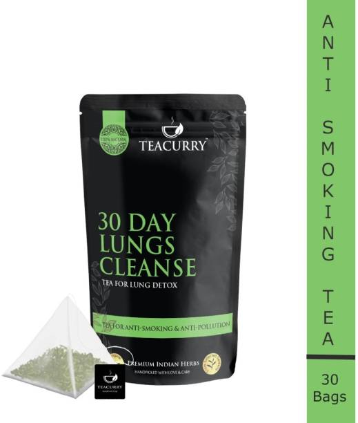 Teacurry Anti Smoking Tea | 30 TeaBags Lung Health Tea, 60 Cups | Detox Health, Smoking Quit, Pollution Detox | Herbal Blend for Lung Cleansing Tea Liquorice Herbal Tea Bags Pouch