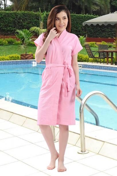 HotGown Plain Pink Medium Bath Robe
