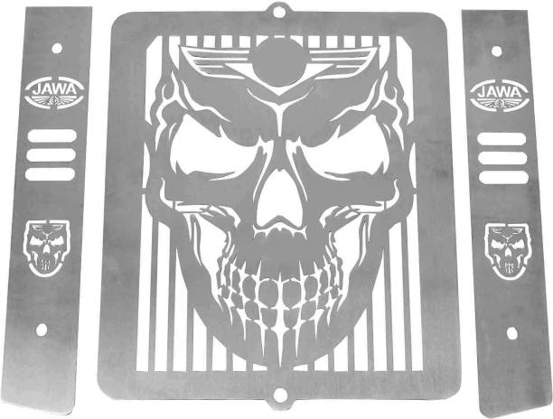 acube mart Jawa 42.Jawa Perak, Classic skull face radiator grill/guard Bike Radiator Guard