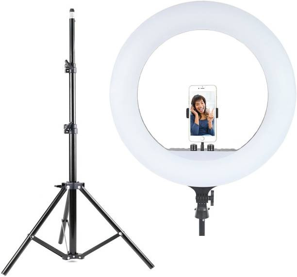 Alchiko HQ-18 Inch Big Ring Light Adjustable Brightness With Best Quality Portable Foldable Umbrella Flash Light 2.1 Big Tripod Stand Compatible With All Smartphones & Cameras, For Live Streaming, Make up, Video Conference, Online Classes 3000 lx Camera LED Light