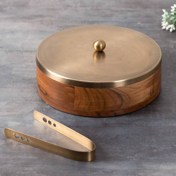 nestroots Wooden Chapati Box Roti Casserole with Tong for Dining Table/Parties/Home/Restaurant/Cafes (Gold) Serve Casserole
