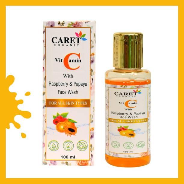 Caret Organic Vitamin C  with Rasberry & Papaya | No Sulphate, Paraben Or Alcohol - 100mL Face Wash