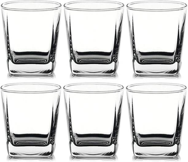 Shivshakti Kitchenware (Pack of 6) Crystal Clear Plaza Shape Tumbler Set for Water Glass and Juice Glass 6 pcs 190ml Glass Set