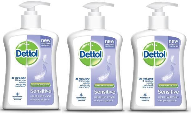 Dettol SENSITIVE PH-BALANCED 200 ML PUMP DISPENSER ( PACK OF 3 ) Hand Wash Pump Dispenser