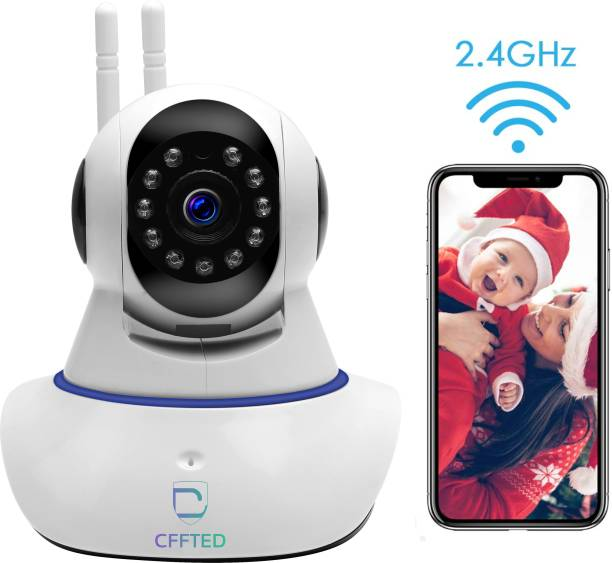 CFFTED Double Antenna Smart Wi-Fi Auto- Rotating Via Mobile Night Vision Mobile HD CCTV Wifi Camera 720P with Audio and Wall Mount Camera Security Camera