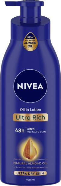 NIVEA Body Lotion for Extremely Dry Skin, Oil in Lotion Ultra Rich, With Natural Almond Oil & Vitamin E