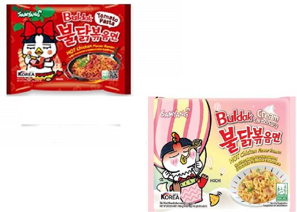 Samyang Hot Chiken Flavour Cream Carbo & Tomato Pasta Instant Noodles (Pack Of 2) Instant Noodles Non-vegetarian