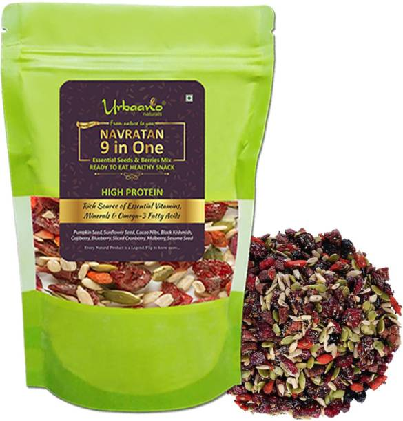 Urbaano Naturals Healthy Sporty True Elements of Nature -EXOTIC TRAIL Essential seed & Berry Mix 9 in One (Pumpkin Seed, Sunflower Seed, Cacao Nibs, Black Kishmish, Gojiberry, Blueberry, Sliced Cranberry, Mulberry & Sesame Seed) - healthy diet snacks - Mix seed - seed for Eating Assorted Seeds & Nuts