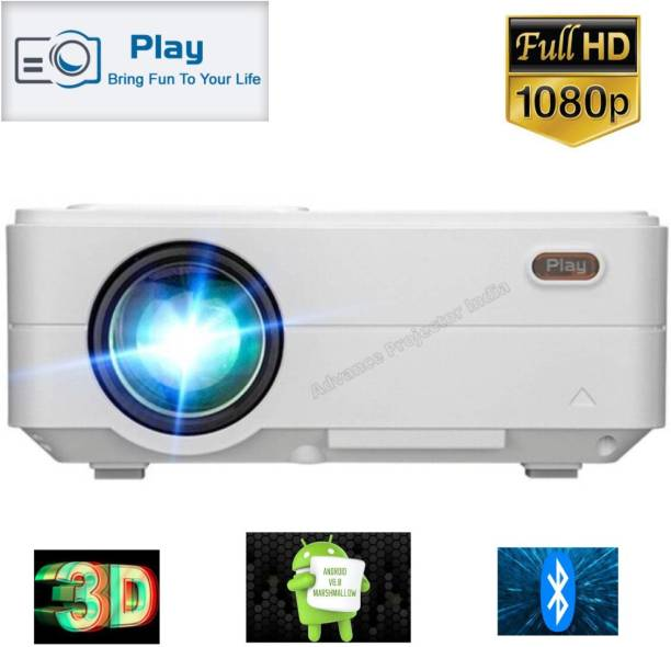 PLAY New Android 6.0 Advance Technology 1080p High Definition Smart Projector For Home or Teaching or Business (3500 lm / Wireless / Remote Controller) Portable Projector