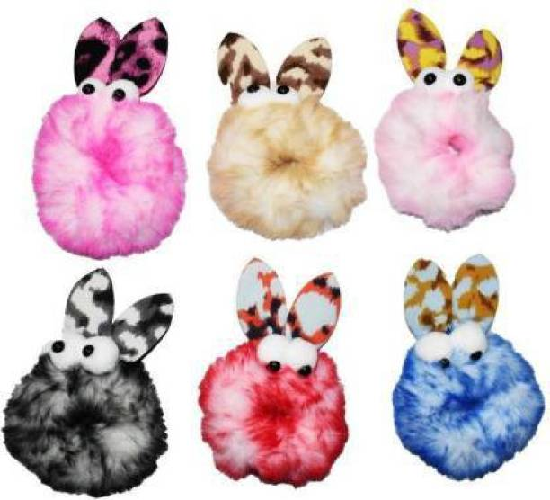 Fabowlous Fluffy Soft Fur Elastic Multicolour Hair Rubber Bands for Kids Girls Women (Pack of 6) Rubber Band Rubber Band (Pack of 6) Rubber Band Rubber Band