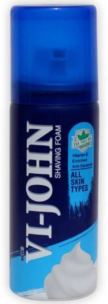 VI-JOHN Travel Shaving Foam For All Skin Types (50gm Each) | Pack of 12