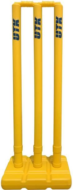 UTK Cricket Wicket Plastic Wicket Hard Stump Set (3 stumps ,2 bails , 1 stand)