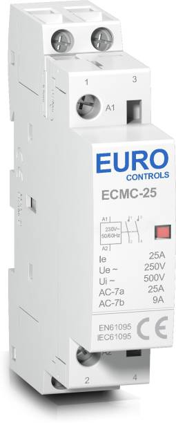 Euro Controls Modular Power Contactor ECMC-25-2NO PC 25 Amps Volts 220 AC 2 Pole 2 NO Copper coil heavy duty Low switching noise Din mounting compact size Power Contactor Wire Connector