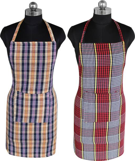 Feather Green Cotton Home Use Apron - Free Size