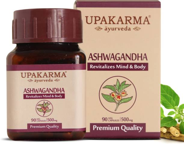 UPAKARMA Ayurveda Organic Ashwagandha 500mg - 90 Veg Capsules Pure Extract - Stress Relief, Anti-Anxiety, Mood Enhancer, Immune & Thyroid Support 45 Days of Supply (Pack of 1)
