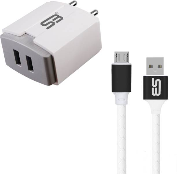 shopbucket 3.4A Double USB Port Fast Charger BIS Certified, Auto-detect Technology, (white) with 1.2 Meter Micro USB Data Cable | High Speed Charging | Tangle Free | Unbreakable | Cable 2.4A (Black) Travel Charging Power Adapter Compatible with Xiaomi Redmi Note 6 Pro, Xiaomi Redmi 7, Xiaomi Redmi 5A, Xiaomi Redmi Note 4. 18 W 3.4 A Multiport Mobile Charger with Detachable Cable