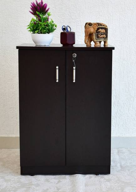 SamDecors Engineered Wood Two Door Cabinet/Shoe Rack with Four Compartments (Colour - Black) Engineered Wood Free Standing Cabinet