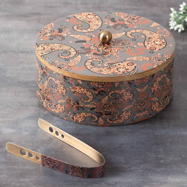 nestroots Casserole Wooden hot Box Set for Kitchen | chapati Box Food Warmer hotcasese Set / hotpot roti Box with Printed Lid & Tong (Mango Wood Grey , 9 inch ) Wooden Cake Server