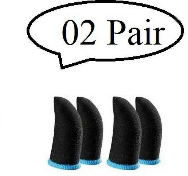 Jape Thumb Sleeve for Free Fire / Call of Duty Mobile Game 02 Pairs, Black-Blue Finger Sleeve