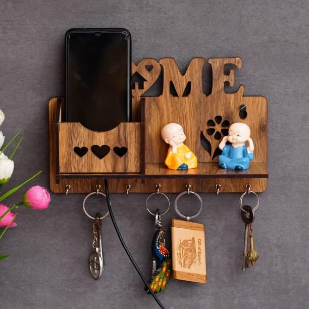 Gajkarna Creations Key Holder For Wall Home Design Mobile Pocket With Side Shelf Wood Key Holder