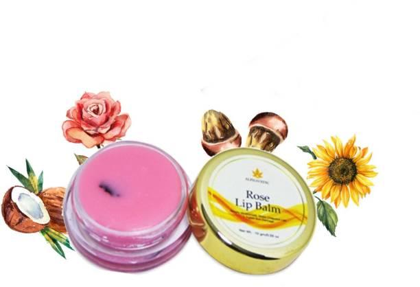 Alphavedic Rose Lip Balm (10 g) Long-Lasting Moisturising Plumpy Natural Colour Lip Balm For Dry & Chapped Lips Rose