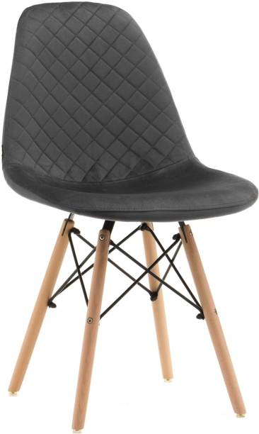 Finch Fox Eames Replica Velvet Cushion Dining Chair For Cafe , Side Chair , Accent Chair Dark Gray Color Engineered Wood Living Room Chair