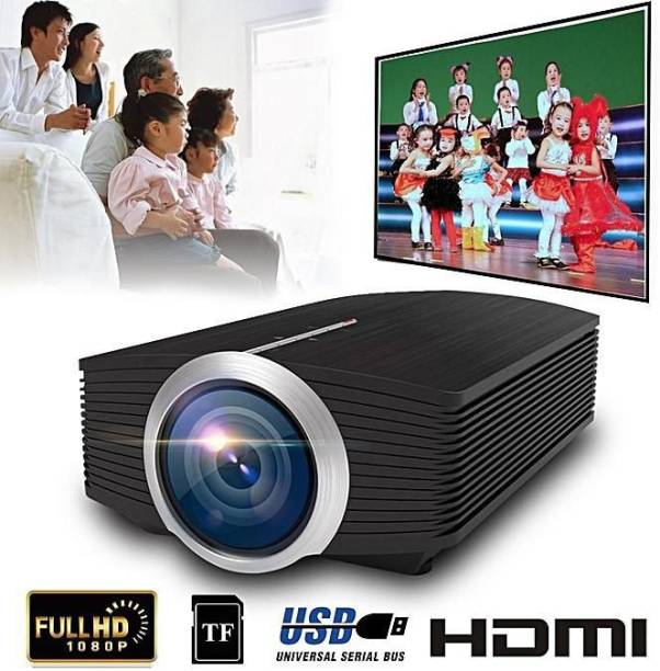 """IBS YG-500 LED Projector 1080P 130"""" Home Theater Video Projector 1200 Lumens 800 * 480 Pixel 1000:1 Contrast Ratio with HD in VGA AV USB Remote Controller EU Plug LED LCD VGA HDMI LED Beamer Support 1080P (4000 lm / Remote Controller) Portable Projector"""
