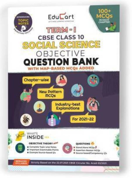 Educart SOCIAL SCIENCE Term 1 Objective Question Bank Class 10 CBSE 2022 (100s Of New Pattern MCQs Per Chapter)
