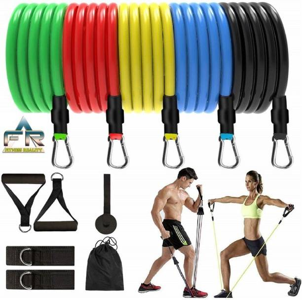 Fitness Reality 11 Set Home Workout Resistance Bands Full Exercise Resistance Tube