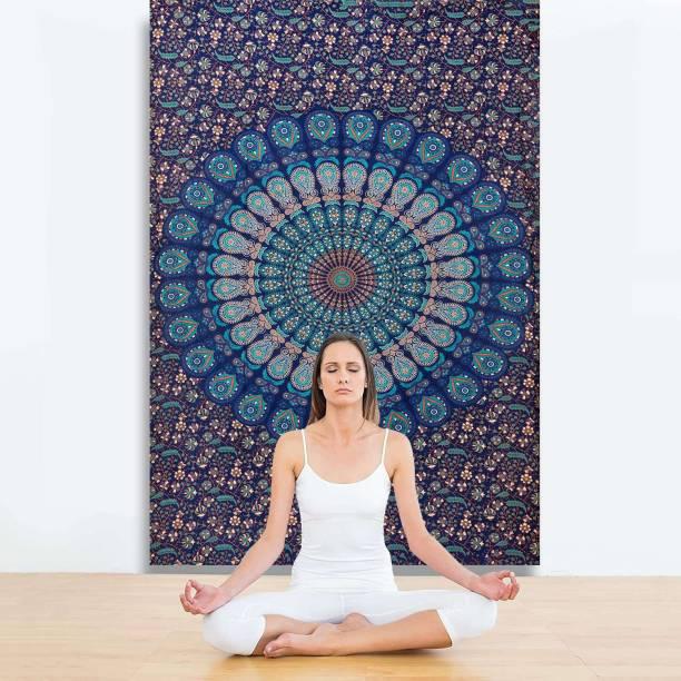 KALAKYARI Indian Bohemian Wall Tapestry Home Decoration Mandala (84 x 54 Inches) (Blue) Tapestries Mandala Tapestry