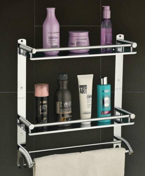 GLOXY by GLOXY Stainless Steel Double Layer Shelf with Towel Road,Multipurpose Wall Mount Bath Shelf Organizer,Kitchen Shelf shelves/Bathroom Shelf and Rack/Bathroom Accessories Silver Towel Holder