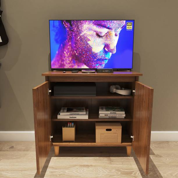 Furnifry Wooden TV Stand Table with 3 Tier Storage Shelves & Door for Home Living Room Bedroom/Modern TV Entertainment Stand Base Perfect for Cable Box & Media Consoles (73x34x68.4 cm, Walnut Finish) Engineered Wood TV Entertainment Unit