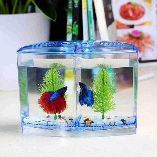KINGSTOWNKING Mini Betta Fish Double House Tank Rectangle Aquarium Tank Rectangle Aquarium Tank