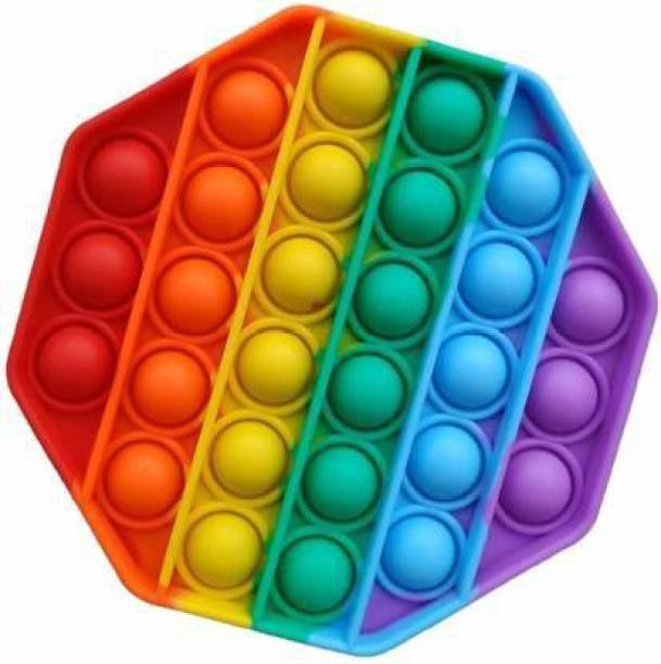 DIKUJI ENTERPRISE Silicone Push POP IT Bubble Fidget Toy, Autism Special Needs Stress Reliever, Squeeze Sensory Tools to Relieve Emotional Stress for Kids Adults (Rainbow Octagon) Party & Fun Games Board Game